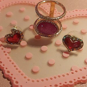 Heart Pink Gold and Bling Button Earrings